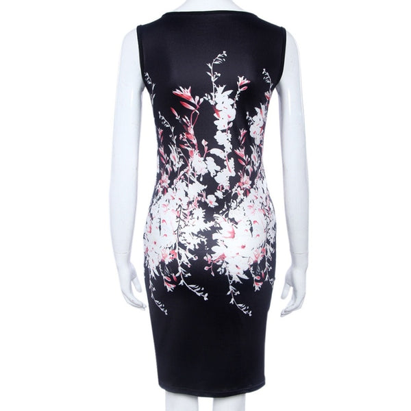 Vintage Floral Print Her Fashion Casual Tank Slim Bodycon Women Dress