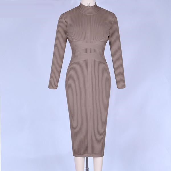 Women Bodycon Long Sleeve Her Fashion Elegant Midi Bandage Party Dress