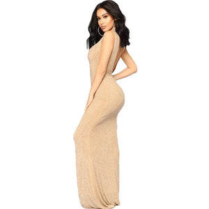 Sequined Sleeveless Trumpet High Neck Long Khaki Women Dress Vestidos