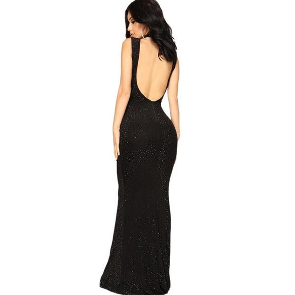 Sequined Sleeveless Trumpet High Neck Long Women Dress Vestidos