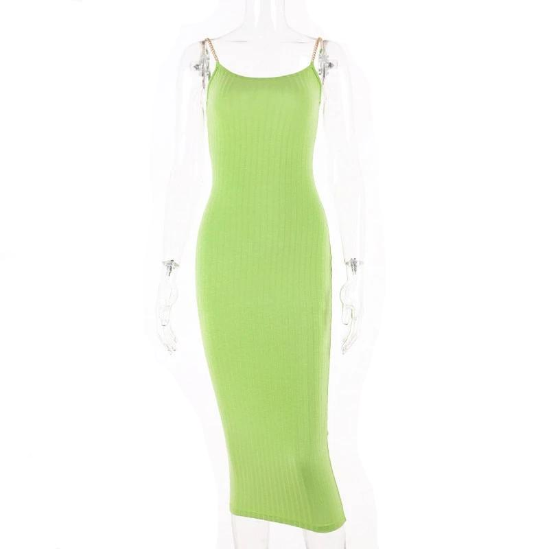 Spaghetti Chain Strap Knitted Sleeveless Midi  Bodycon Womens Dress