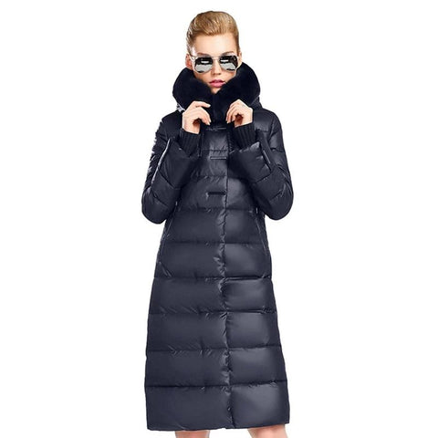 Women's Jacket Medium Length Parka With Rabbit Fur Winter Thick Coat