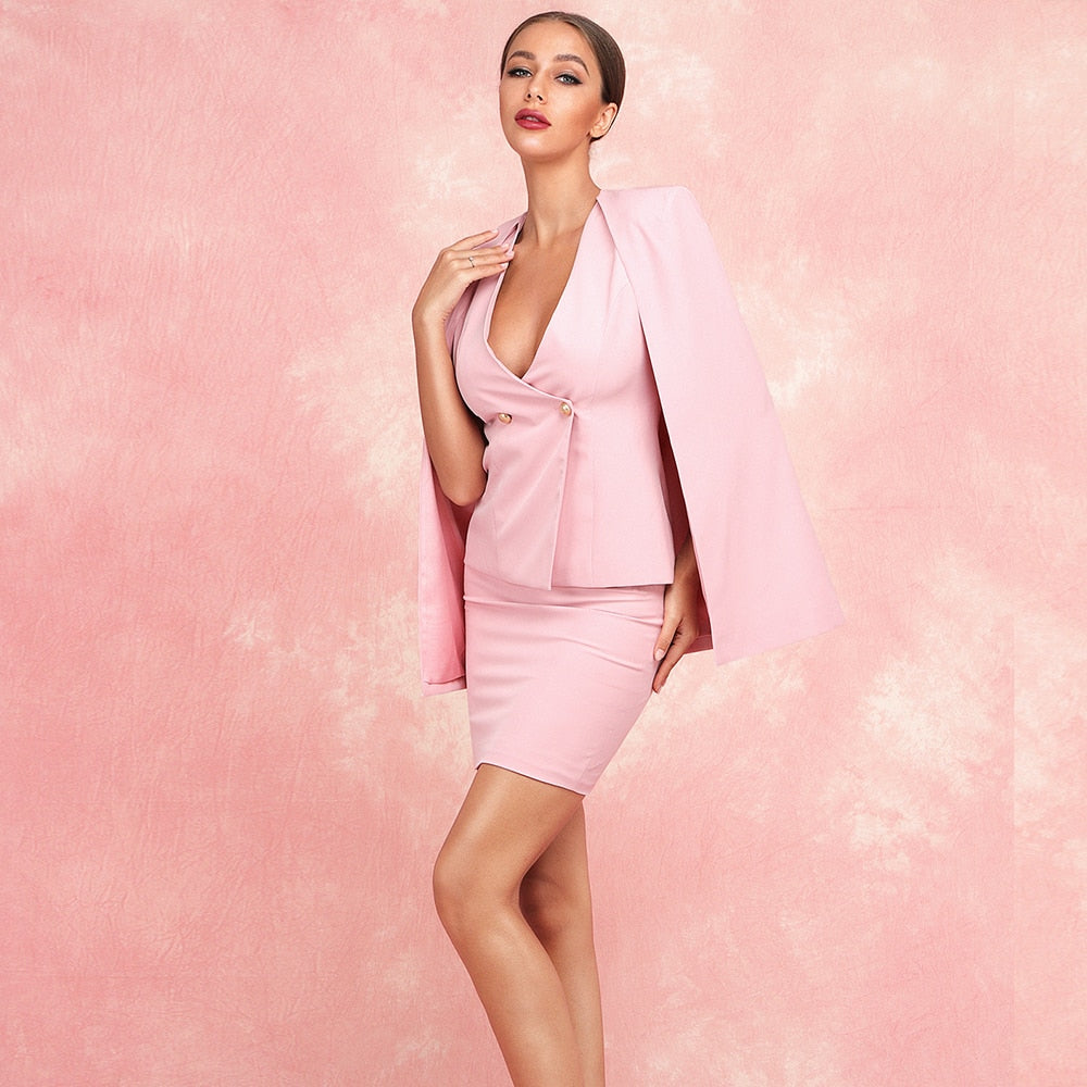 Women's Suit 2 Piece Bodycon Dress Set with Elegant Jacket