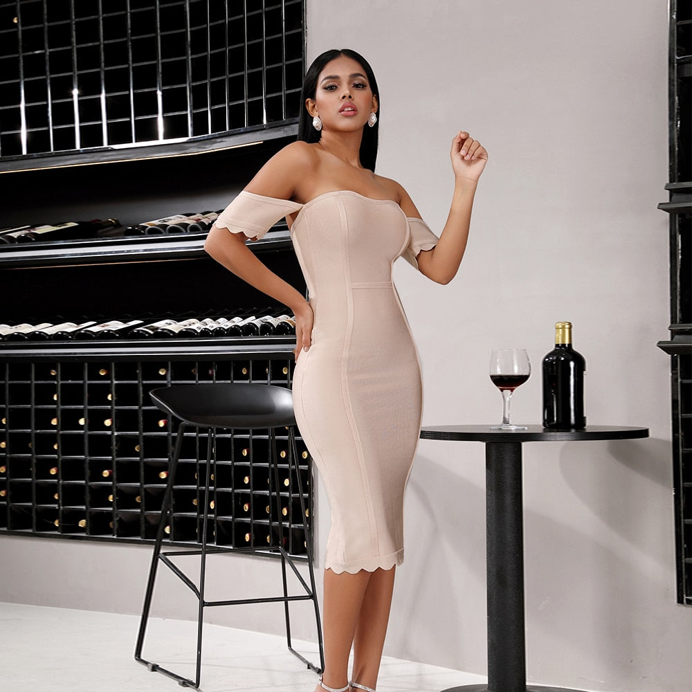 Bandage Cold Shoulder Midi Her Fashion Bodycon Party Womens Dress