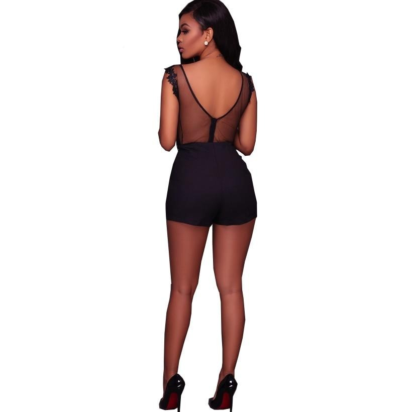 Embroidery Lace Mesh Insert Backless Her Fashion Teddy Bodysuit