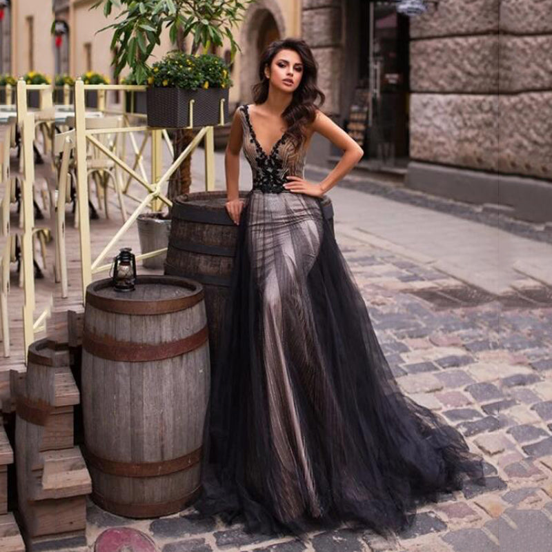 Sequins Mermaid Black Lace Appliqued HHF Backless Long Prom Dress
