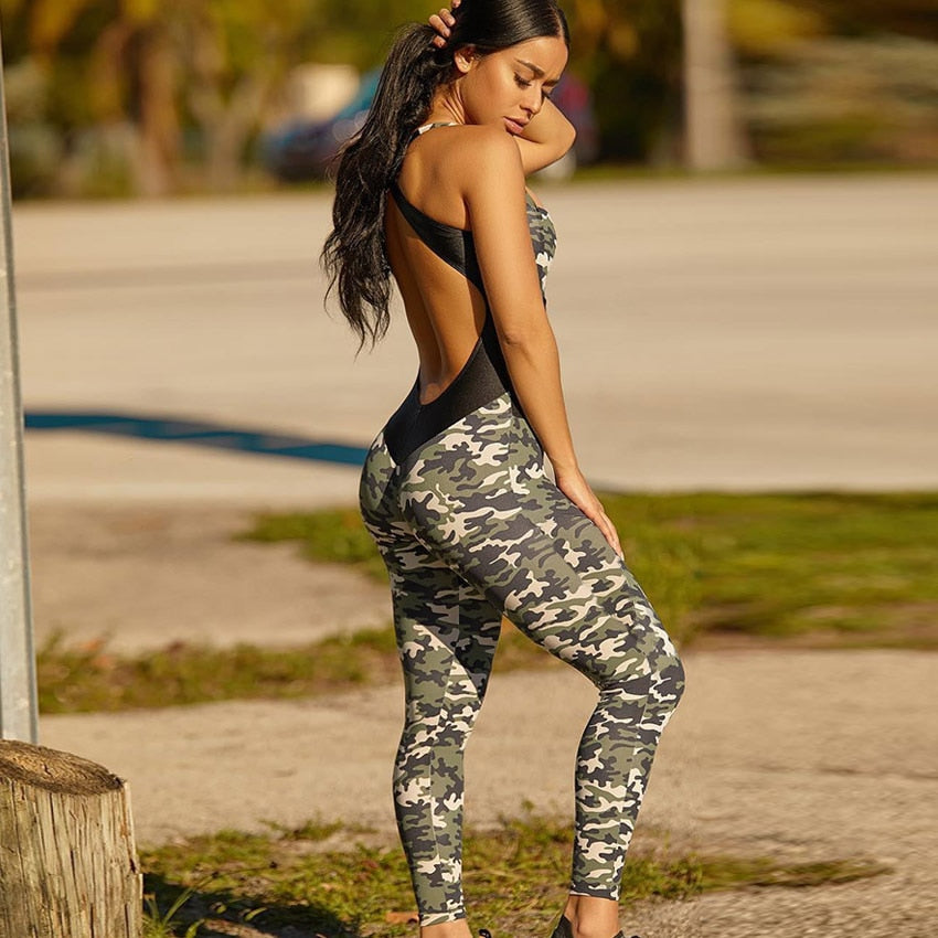 Backless Camo Sports Jumpsuit HHF Yoga Workout Woman Sportswear