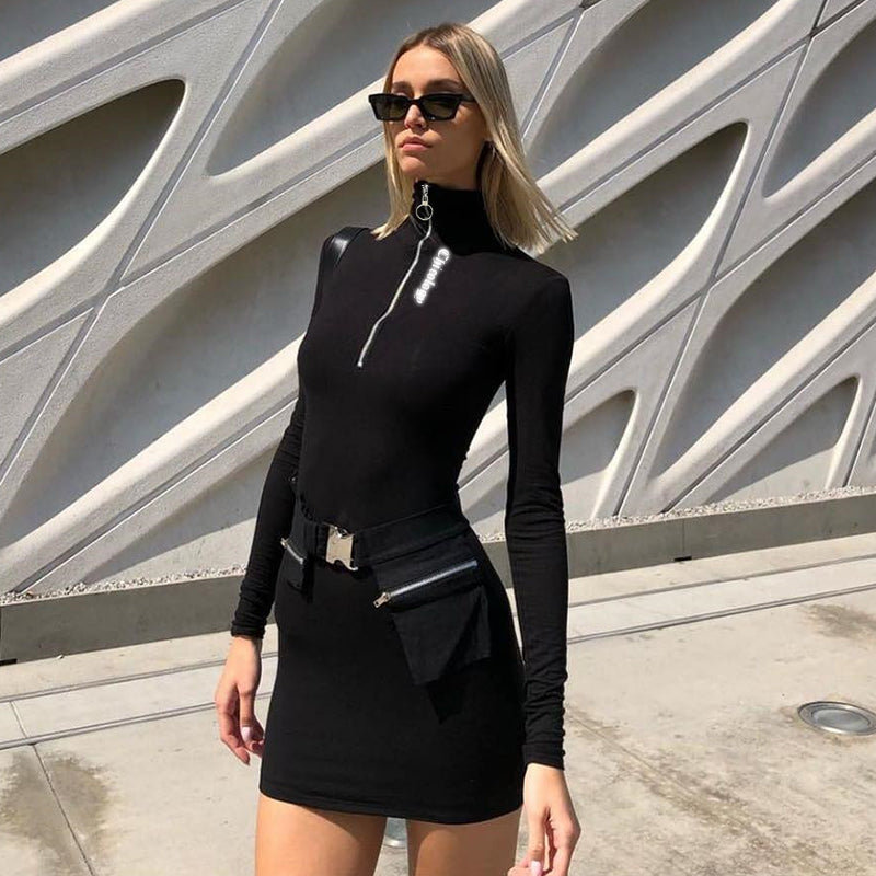 Zipper High Neck Bodycon Streetwear HHF Clubwear Women Mini Dress