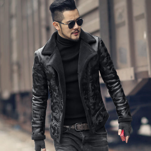 Men Trendy Winter Warm Camouflage Fur Lamb Woollen Jacket Faux Leather
