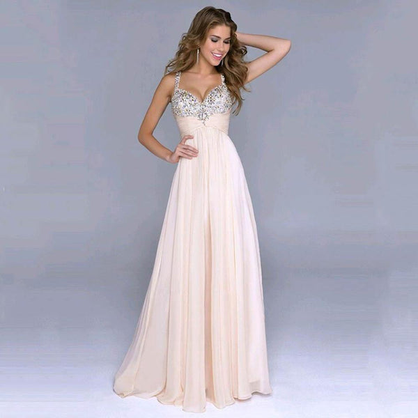 Her Fashion Formal Long Sexy Spaghetti Strap V-Neck Evening Party Prom