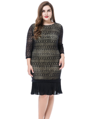 BIG'n'TRENDY Design Black Lace Shell with Pleated Hem Plus Size Dress
