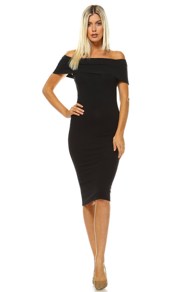 Women's Rosy Off Shoulder Bodycon Her Fashion Midi Dress
