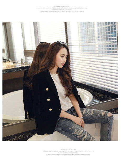Elegant Her Fashion Women Velvet Blazer Trendy Jackets Gold Button