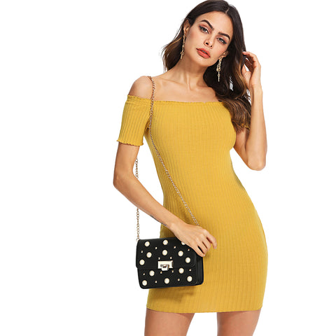 New Look Yellow Slim Off The Shoulder Her Fashion Bodycon Mini Dress