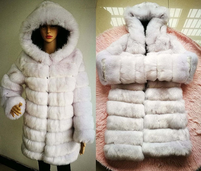 Elegant Faux Fox Fur Coat Women Winter Chic Hooded Jacket Overcoat