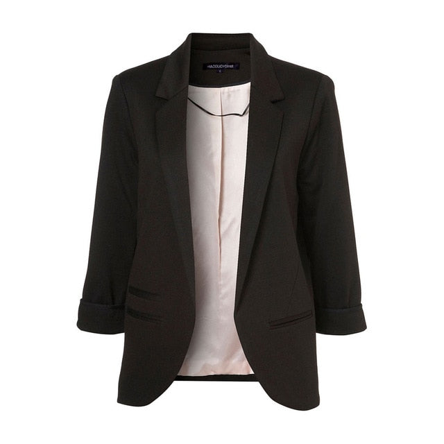 Slim Fit Women Black Formal Jackets Open Front Her Fashion Blazer Coat