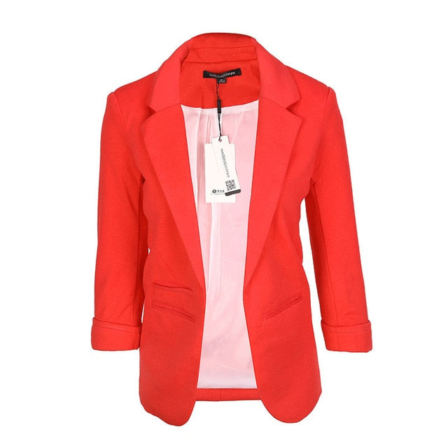 Slim Fit Women Red Formal Jackets Open Front Her Fashion Blazer Coat