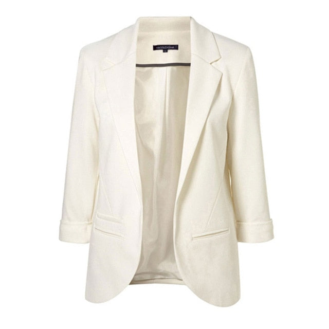 Slim Fit Women White Formal Jackets Open Front Her Fashion Blazer Coat