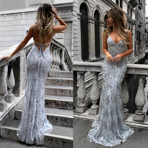 Backless Spaghetti Strap Off Shoulder Sequins Her Fashion Maxi Dress