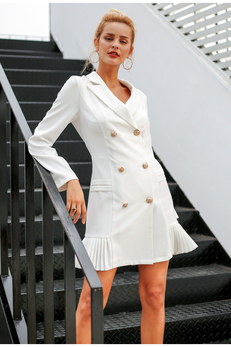 Her Fashion Simply Elegant Ruffle Double Breasted Women Blazer Dress