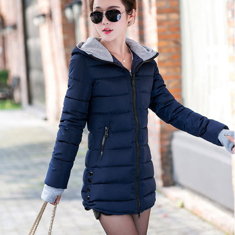 Women's Trendy Winter Jacket Cotton Slim Hooded Parkas Ladies Coats
