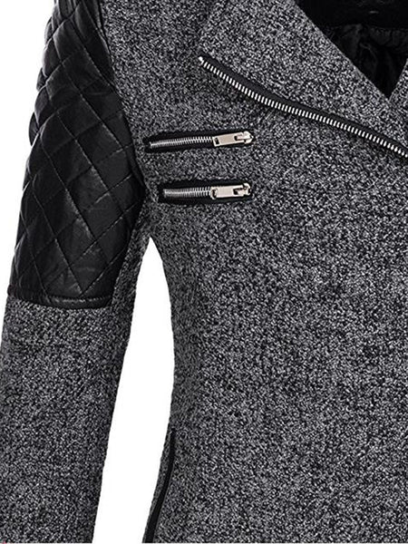 Women Zipper Slim Patchwork Overcoat Her Fashion Hooded Winter Coat