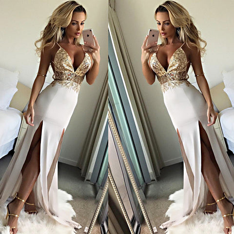 Chic Backless Spaghetti Strap Deep VNeck Sequin Her Fashion Maxi Dress
