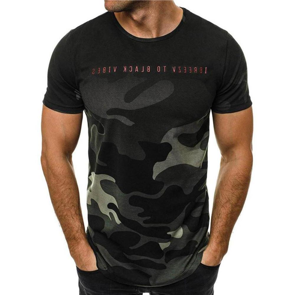 His Fashion Green Camouflage O-Neck Men's T Shirt Short-sleeved Shirt Top