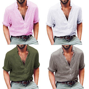 His Fashion White Long Sleeve Henley Mens Shirt Linen Beach Loose Fit
