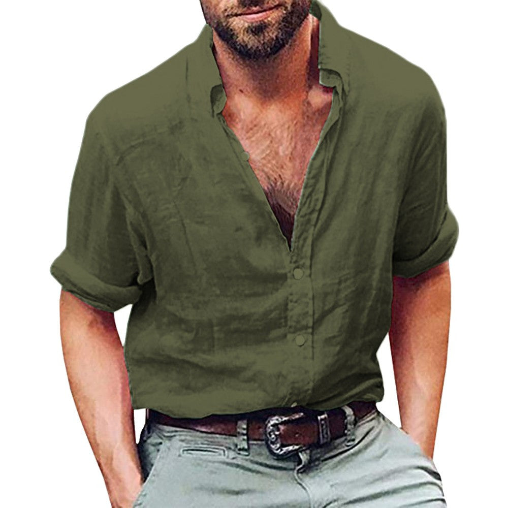 His Fashion Army Green Long Sleeve Henley Mens Shirt Linen Beach Loose Fit
