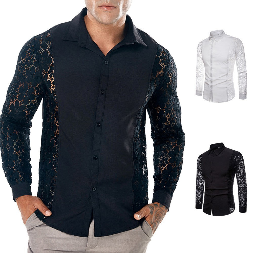 His Fashion Black Casual Lace Design Long Sleeve Hollow Men's Shirt Top