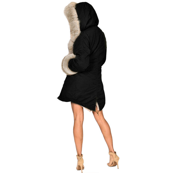 Women Overcoat Hooded Coat Faux Fur HerFashion Winter Trendy Parkas