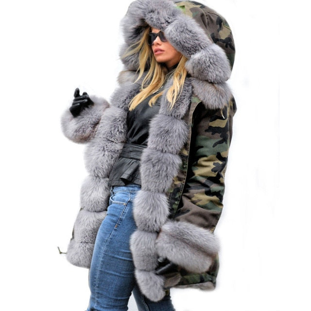 Her Fashion Winter Jacket Faux Fur Hooded Coat Fleece Parkas Women Overcoat