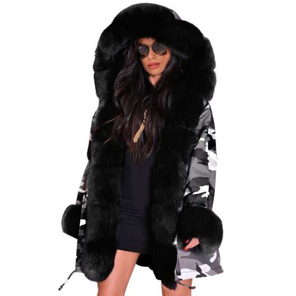 Women Overcoat Thick Hooded Coat Faux Fur HerFashion Winter Chic Parkas
