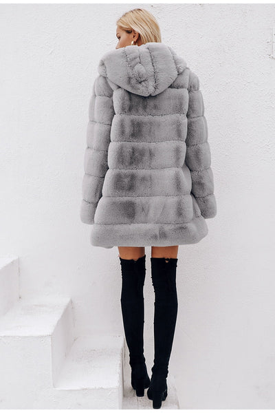 Classic Women Coat Fluffy Hoodie Her Fashion Faux Fur Winter Overcoat