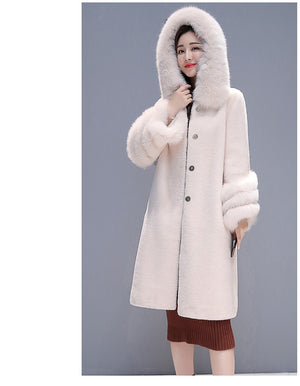Winter Wool Coat Her Fashion Women's Faux Fur Overcoat