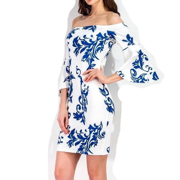 Blue White Print Slim Chic Style Off Shoulder Midi Womens Dress