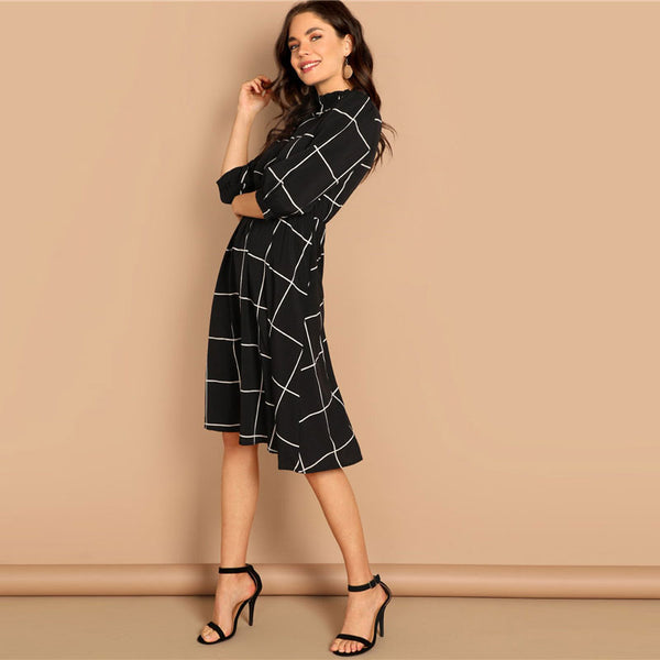 Her Fashion Black Frilled Neck Plaid Print Trendy Casual Midi Dress