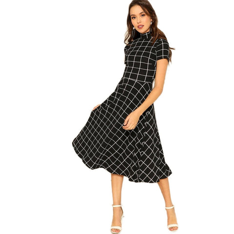 Her Fashion Black Mock Neck Short Sleeve Flared A-Line Chic Midi Dress