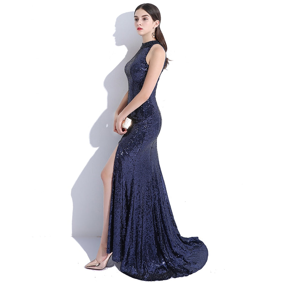 Court Train Long Prom Beading Sequinned Robe Mermaid Evening Dress