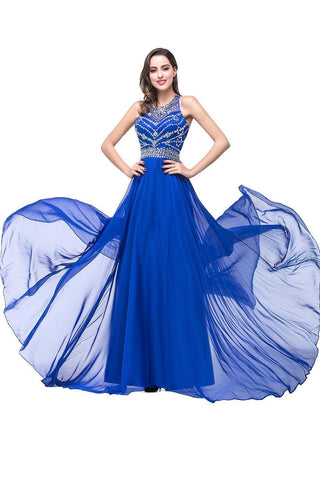 Long Prom Dresses Royal Blue Beaded Chiffon Evening Party Formal Dress
