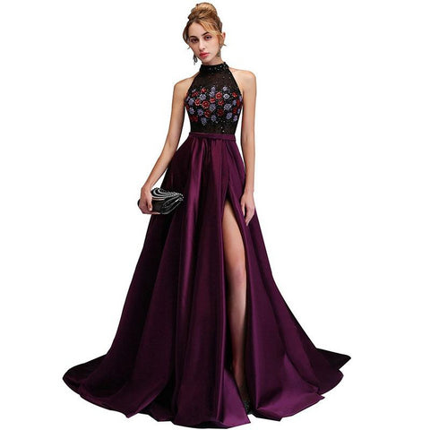 New High Neck Crystal High Slit A Line Purple Luxury Prom Dress