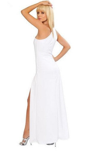 """Bold Series"" European One Shoulder Solid Color Long Evening Maxi Dress"