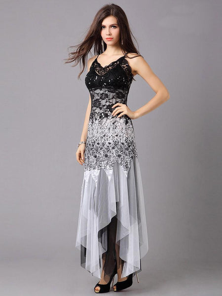 "Elegant Series""  V-neck Asymmetrical Sleeveless Tulle Long Black Lace Dress"