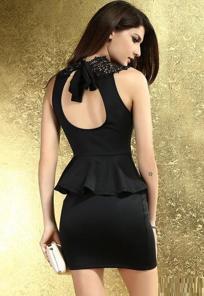 """Mod Series"" Cute Hollow Out Back Trumpet Peplum Embroidery Bodycon Dress Atacad"
