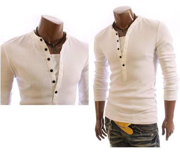 Slim Buttons Spring T-shirts Turn-down Collar Casual Fashion Long Sleeve Shirt