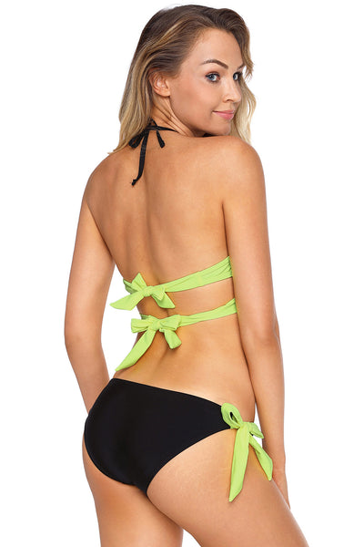 Trendy Bright Yellow Wrap Front Halter Bikini Tie Side Bottom Swimsuit