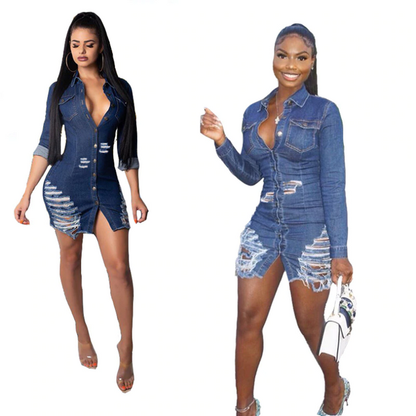 Long Sleeve Sexy Distressed Raw Hem Denim Womens Dress Party Outfit