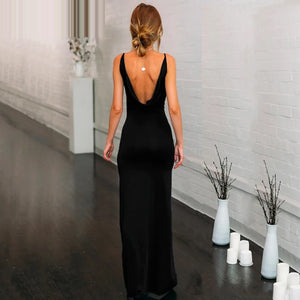 Bodycon Backless Deep V Neck Side Slit Sexy Party Maxi Womens Dress