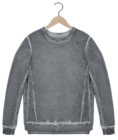 Sid Distressed Sweatshirt in Dark Argent Grey